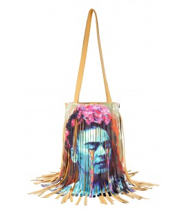 Icone 'Frida' e 'Il Bacio' di Klimt - Borsa in pelle intrecciata LIMITED EDITION